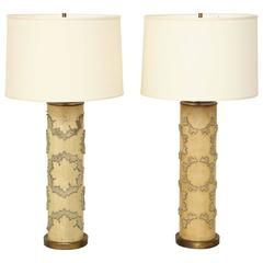 Pair of Pale Green Wallpaper Lamps, circa 1940