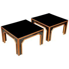 Pair of Bamboo Cocktail Tables with Black Glass Tops, Italy, circa 1960