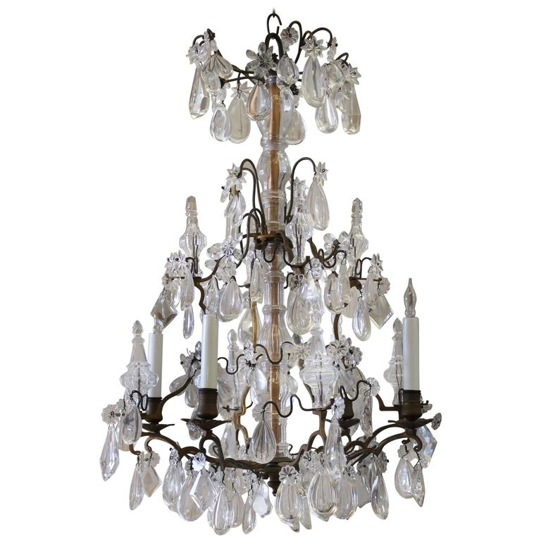 Crystal Chandelier Sale: Antique French Bronze And Crystal Chandelier For Sale At