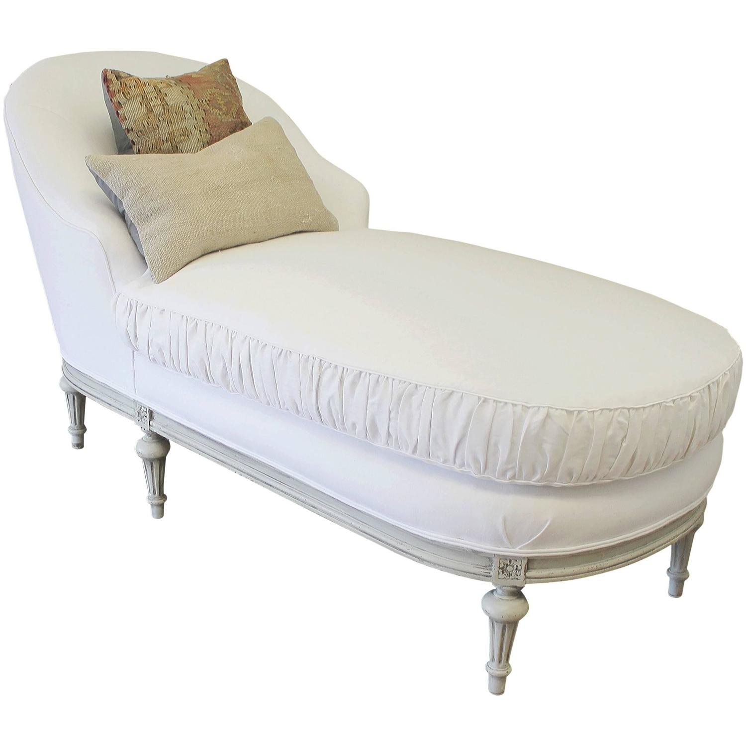 antique louis xvi style french chaise longue in belgian. Black Bedroom Furniture Sets. Home Design Ideas