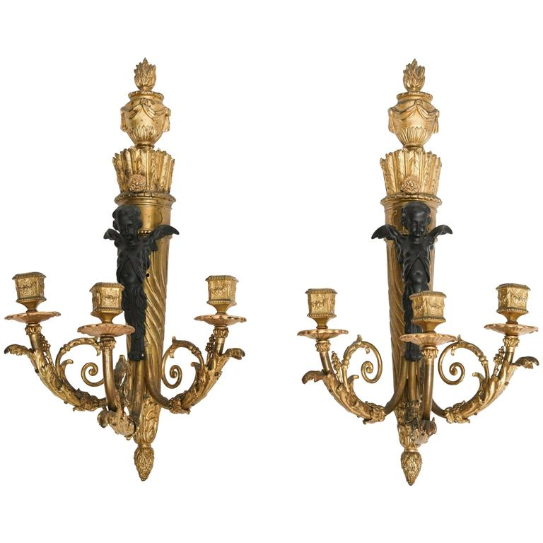 Fine Pair of 19th Century French Bronze Sconces For Sale