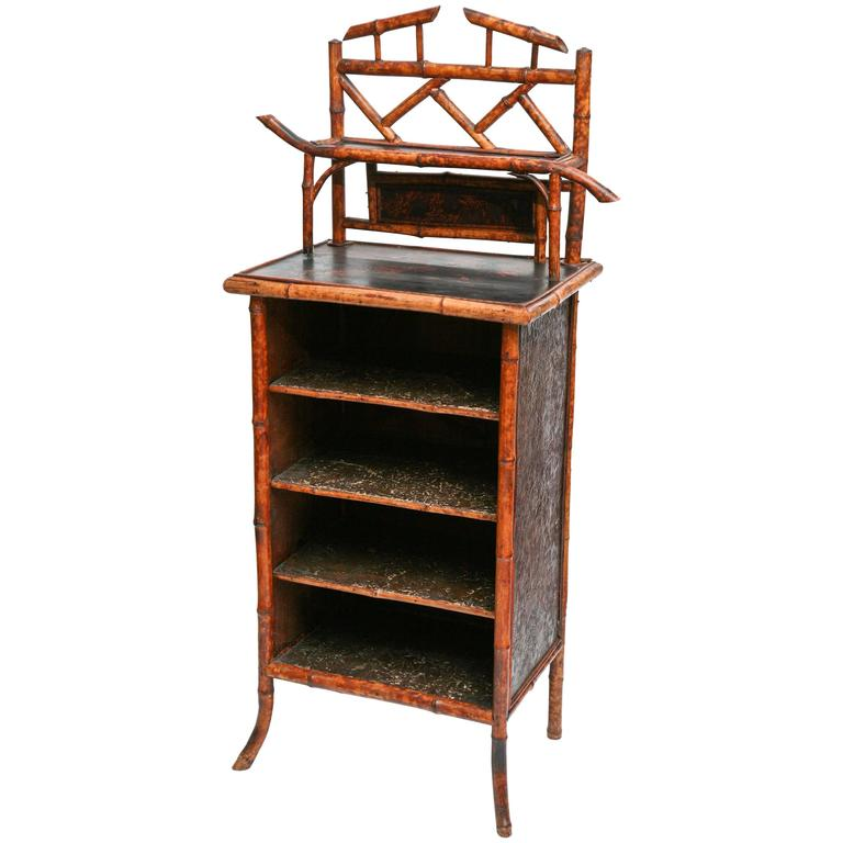 Elaborate 19th Century Bamboo Music Cabinet/Bookcase