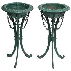 Unusual Pair of 19th Century Cast Iron Plant Stands