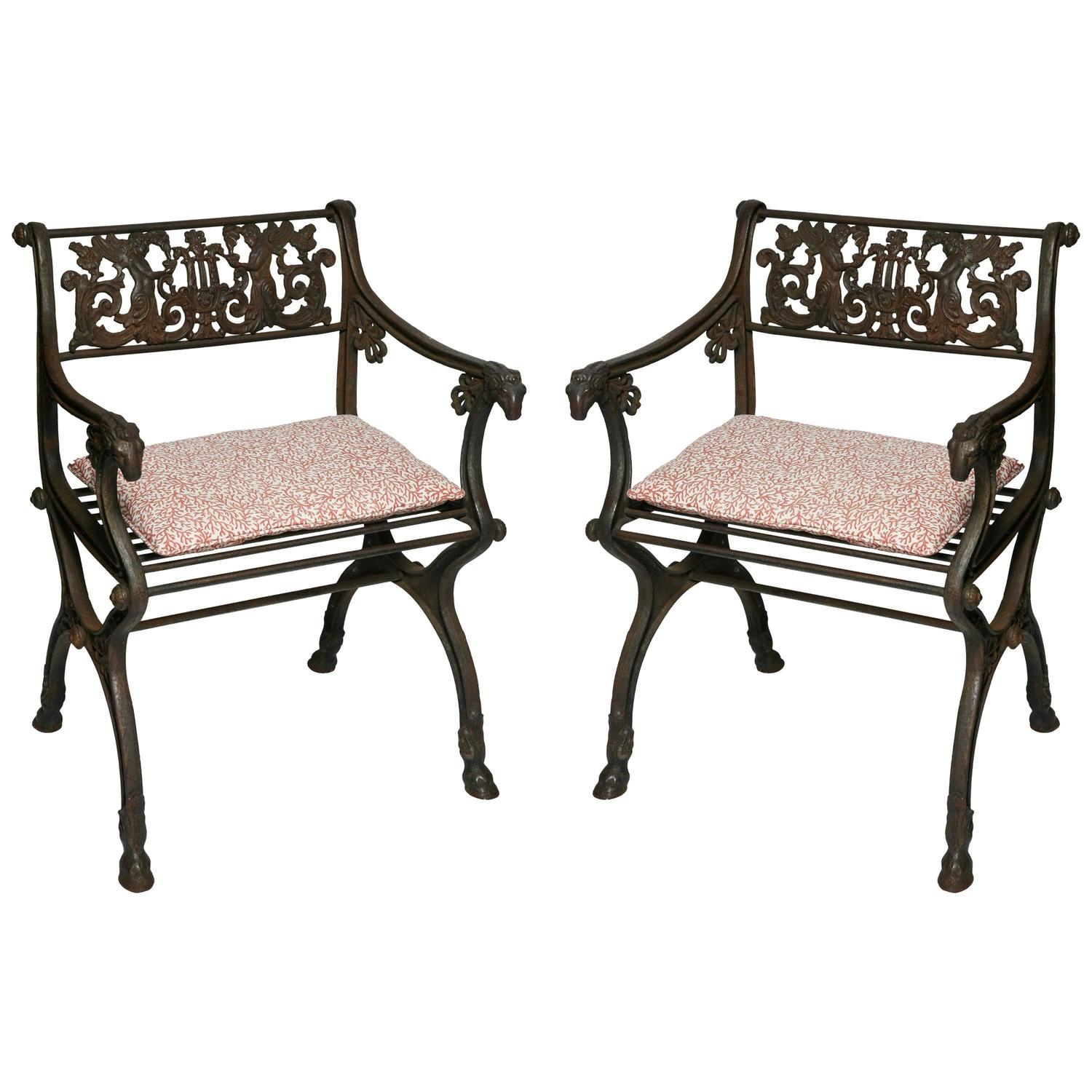 Pair of Antique Iron Garden Chairs For Sale at 1stdibs