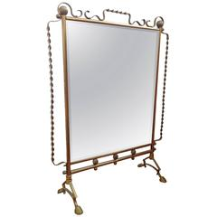 French Mirrored Fire Screen in the Style of Raymond Subes or Gilbert Poillerat