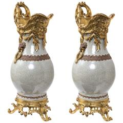 Pair of Fantastic Gilt Bronze Mounted Chinese Porcelain Ewers