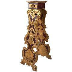 Unusual Painted and Gilded Pedestal