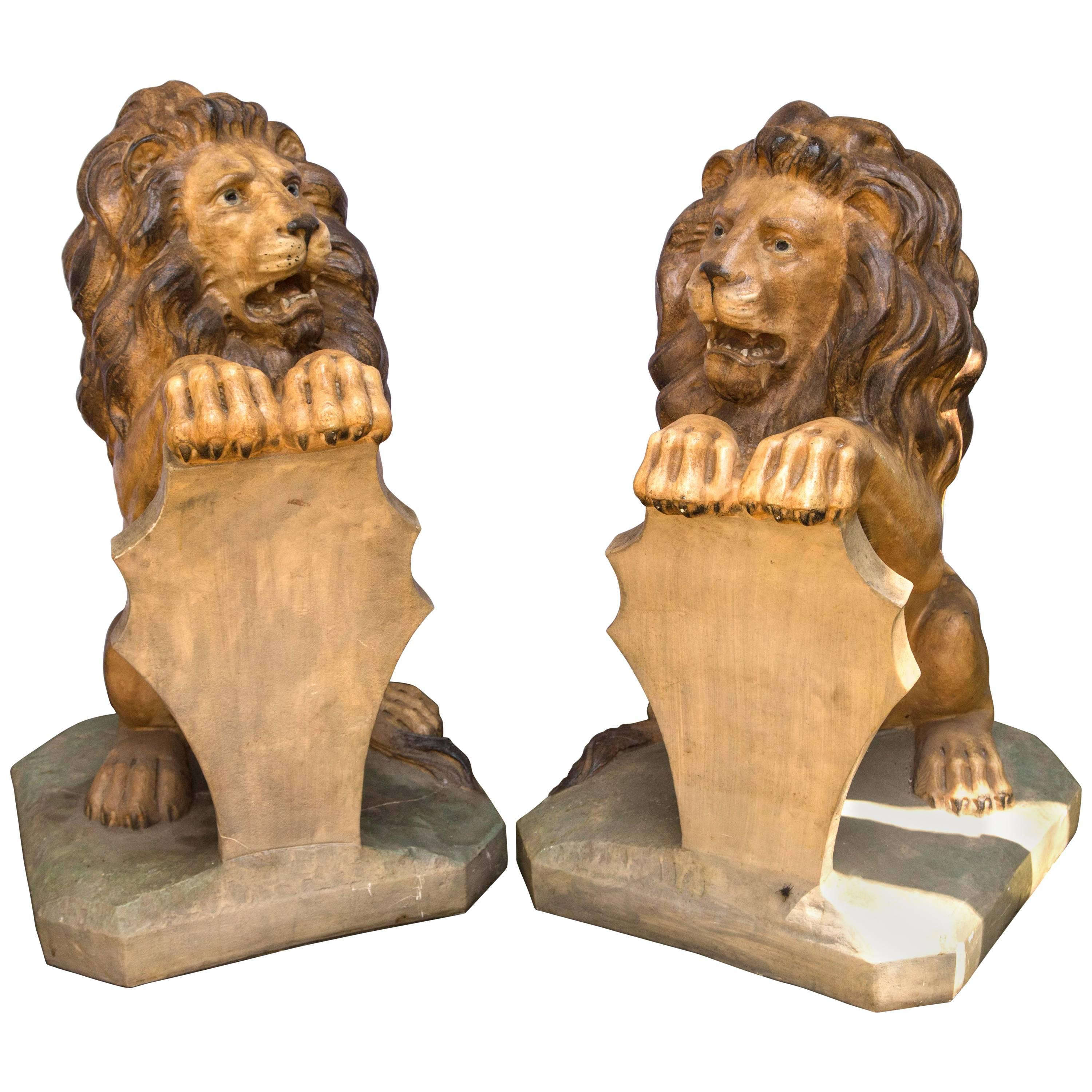 Pair of Painted Lions in Cast Stone
