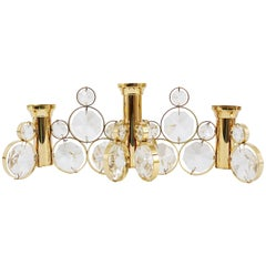 Palwa Brass and Crystals Candle Holder in the Style of Gaetano Sciolari, 1970s