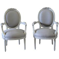 Pair of 19th Century Louis XVI Painted French Fauteuils Armchairs in Grey Linen