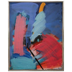 Danish Abstract Composition Oil on Canvas by Bjorn Erickson, 1988
