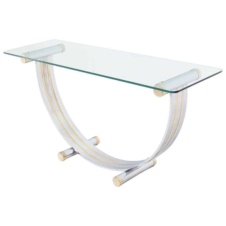 U Shape Brass and Chrome Glass Console Table