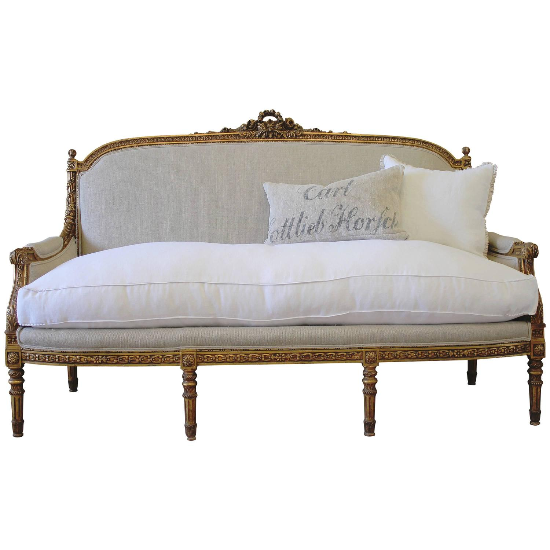 Louis Xvi Style Giltwood French Sofa Settee In Irish Linen