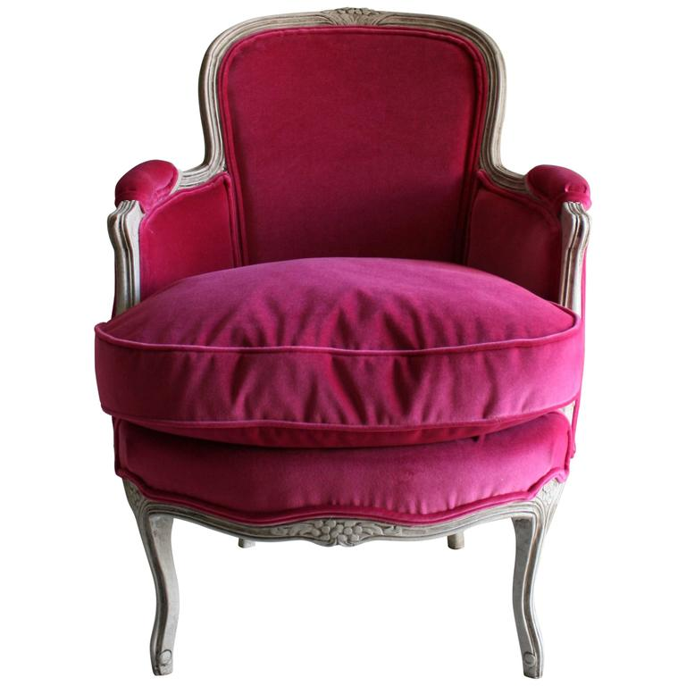 19th Century Louis XV Bergere Chair in Fuchsia Velvet 1