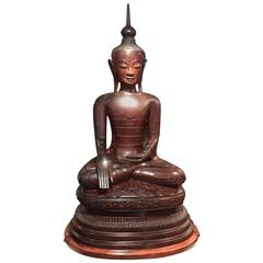 Huge Buddha Statue in Lacquer from the Region of Sham, Burma