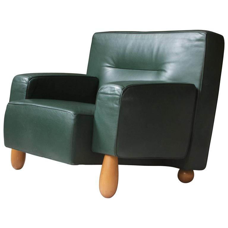 Moroso for Vitra Inc. Green Leather Armchair with Turned Feet