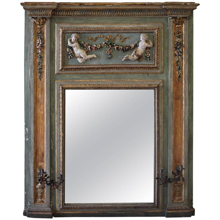 18th century painted and parcel antique french cherub trumeau mirror for sale at 1stdibs. Black Bedroom Furniture Sets. Home Design Ideas