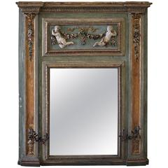 18th Century Painted and Parcel Antique French Cherub Trumeau Mirror