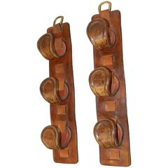 Pair of Gun Racks in Leather in the Style of Jacques Adnet, circa 1950