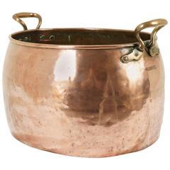 Antique Scottish Oval Copper Wine Pot/ Cooking Pot, Brass Handles