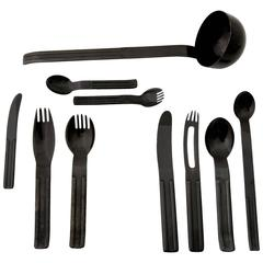 Carl Auböck Black Flatware for 12 People, 81 Pieces, Collini Austria