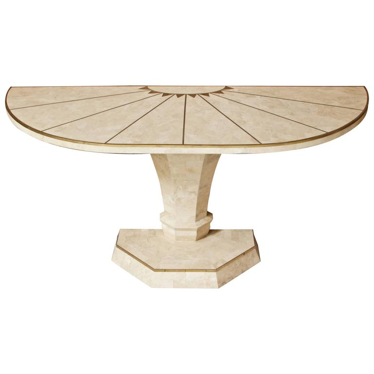 Maitland-Smith Demilune Console Table in Travertine and Brass Inlay, 1970s