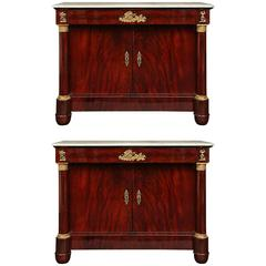 Pair of French Early 19th Century First Empire Period Crouch Mahogany Buffets