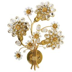 Big Palwa Gilt Brass Flower Wall Light with Crystals, Germany, 1970s