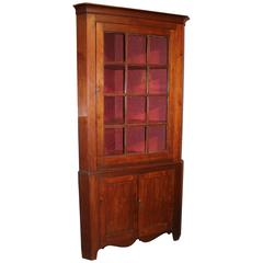 Federal Period Cherry Corner Cupboard with Glazed Door, circa 1820