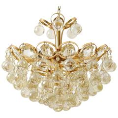 Palwa Chandelier, Gilt Brass and Amber Tone Glass, 1960s