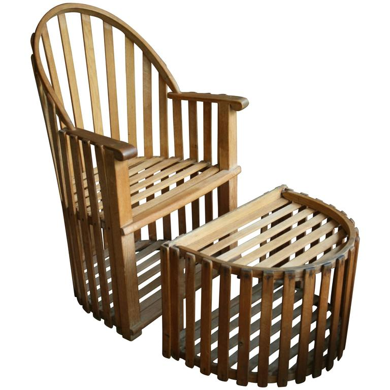 Slatted Wood Chair and Ottoman