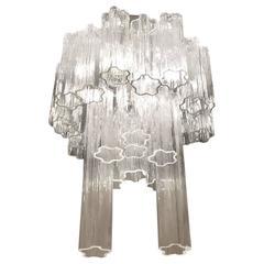 Round Mid-Century Italian Tronchi Glass Chandelier