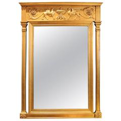 Carved Gold Gilt Mirror with Griffins with Double Columns