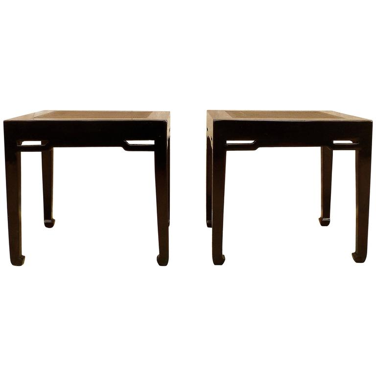 Pair of Black Lacquer End Tables with Hard Canned Top
