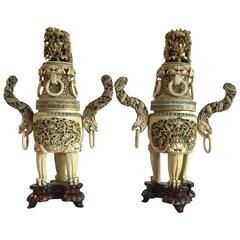 Pair of Chinese Censers