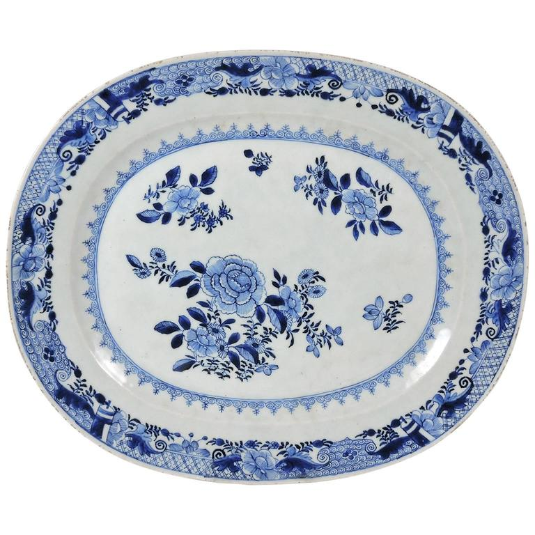 18th Century Qianlong Chinese Blue and White Porcelain Platter