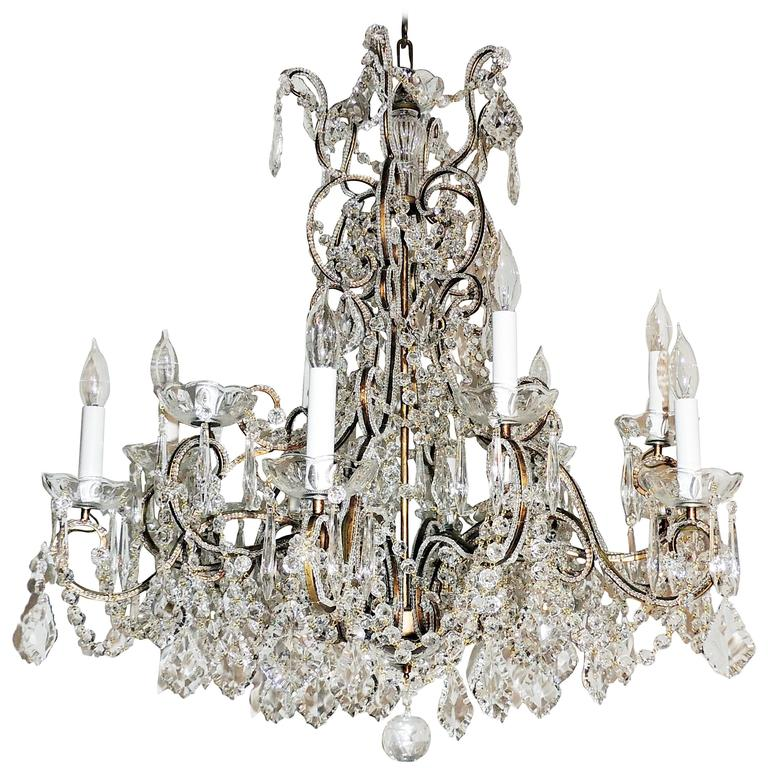 Wonderful Italian Venetian Vintage Beaded Crystal Chandelier Large Fixture For