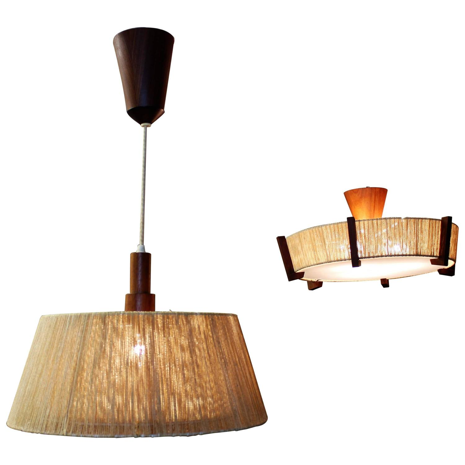 Fog And M 248 Rup Style Danish Teak And Jute Pendant And