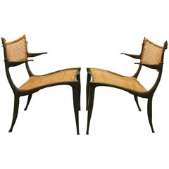 Pair of Dan Johnson Bronze Gazelle Chairs
