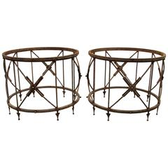 Pair of Round Neoclassical Garden Tables