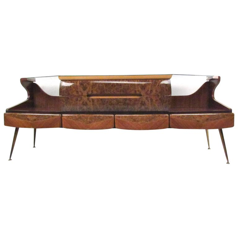 Italian Glass Top Sideboard in the Style of Vittorio Dassi