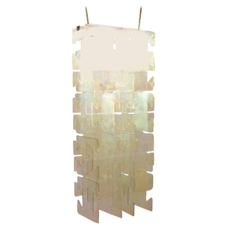 Large Leucos Glass Chandelier, Italy, 1970s