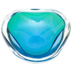 Italian Murano Seguso Sommerso Geode Flat Cut Polished Glass Bowl