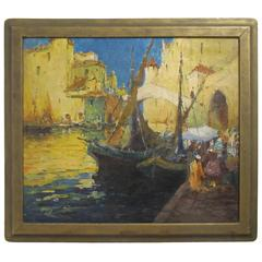 Harbor Scene Painting by G. Thompson Pritchard
