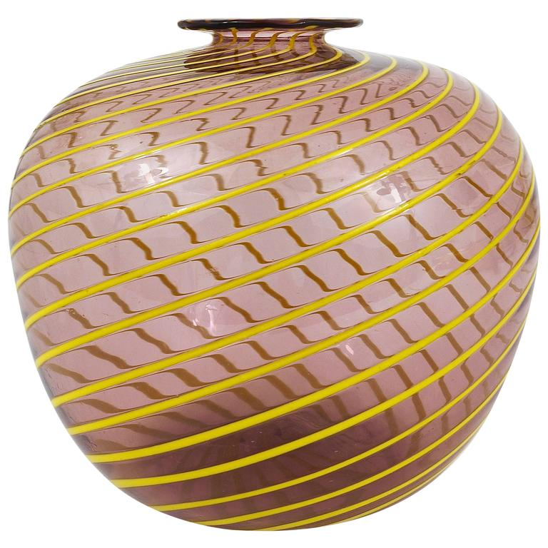 Fratelli Toso Big Purple Murano Swirl Vase with Yellow Stripes, Italy, 1950s For Sale