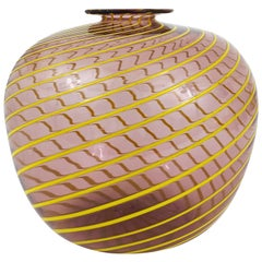 Fratelli Toso Big Purple Murano Swirl Vase with Yellow Stripes, Italy, 1950s