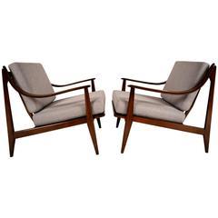 Pair of Mid-Century Teak Danish Lounge Chairs