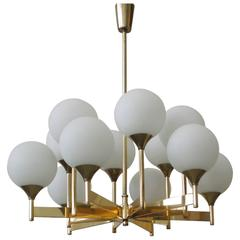 Twelve-Light Scandinavian Brass and Glass Chandelier