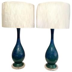 Pair of Mid-Century Lamps with Lucite Bases