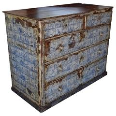 Unusual Portuguese Walnut and Painted Five-Drawer Commode, Early 19th Century